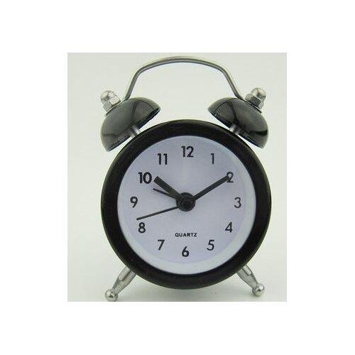 Mini Vintage Double Bell Alarm Clock Metal Quartz Bedside Loud Desktop