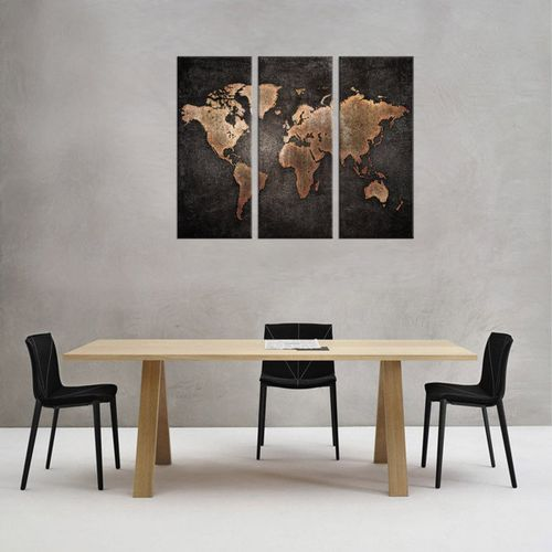3 Panels Large World Map Modern Canvas Picture Print Wall Art Home Decor Fze