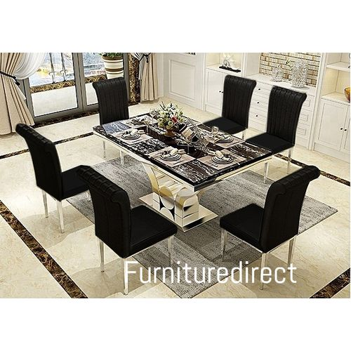 Marble Oxlyn Modern Dining Set Furniture + 6 Dinning Chairs