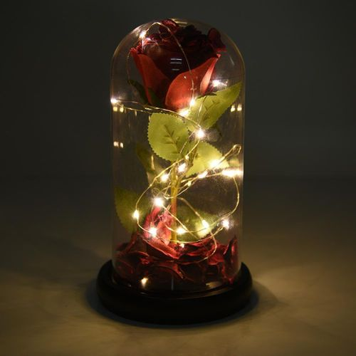 1Pcs Plastic Glass Cover Rose Flower Gift With LED Flashing Luminous Rose Decoration Valentine's Day Gift