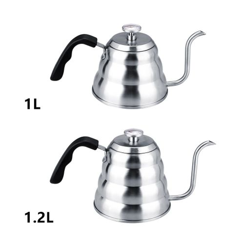 304 Stainless Steel Pour Over Coffee Gooseneck Kettle Teapot With Thermometer Home