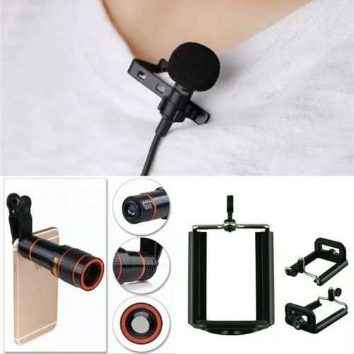 12X Zoom Lens + Clip Microphone + Phone Holder For Tripod