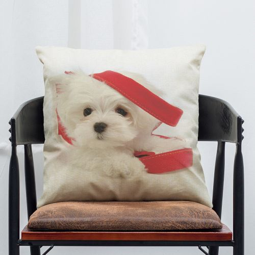 Pet Dog Animal Cotton Linen Throw Pillow Case Cushion Cover Home Decor F