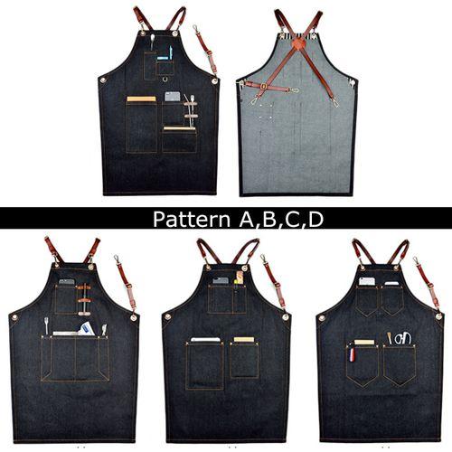 Denim Bib Apron Leather Strap Barista Baker Work Uniform Bartender BBQ Chef New