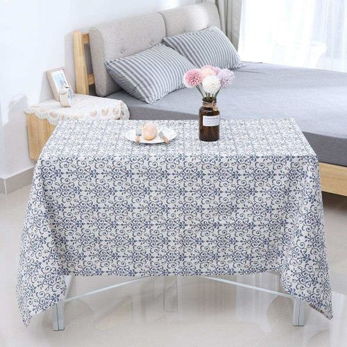 Blue And White Porcelain Pattern Table Cloth Cover Rectangle Dining Table Cover For Kitchen Home Coffee Bar Decoration