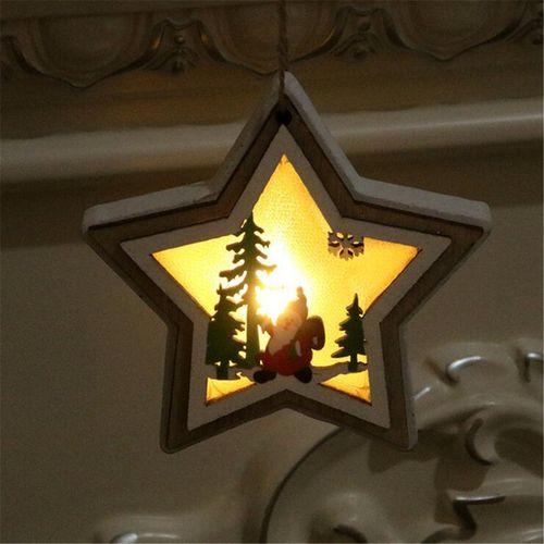 Christmas Tree Hanging LED Light Wood Pendants Decor