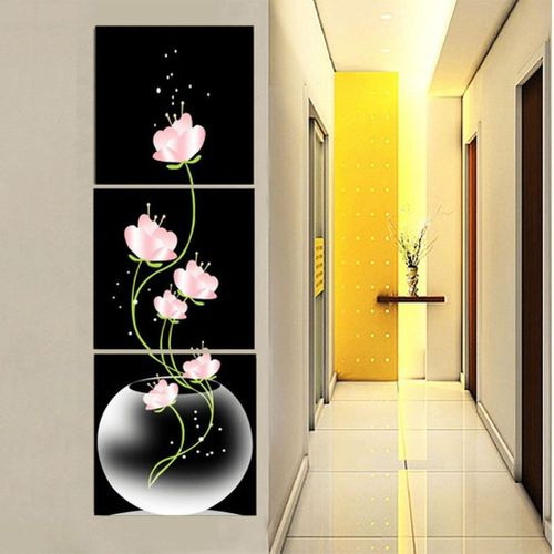 Modern Black Abstract Art Canvas Oil Painting Picture Print Home Room Wall Unframed-40*40cm