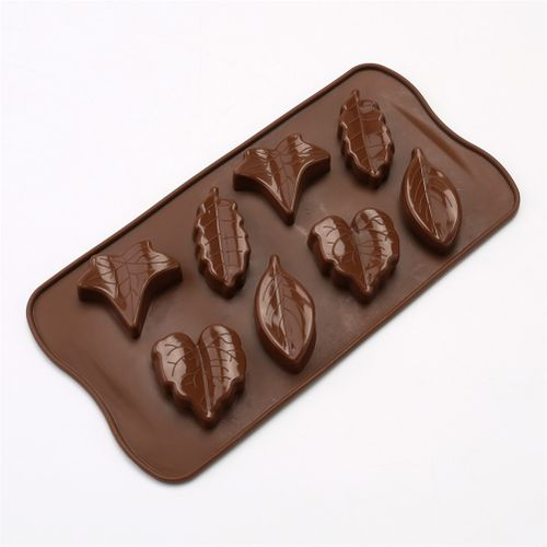 HomeH Mall 5pcs/Set 8 Cavities Leaf-Shaped Food Grade Silicone Mold For Chocolate Cake Candy Bakeware