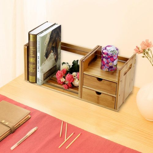 Bamboo Wood Extendable Desk Tabletop Book Rack Bookshelves Bookcase Organizer With 2 Drawer