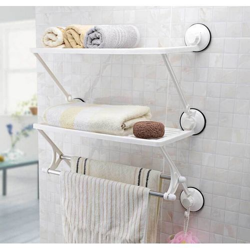 Wall Mounted Double Layer Towel Rack Shelves