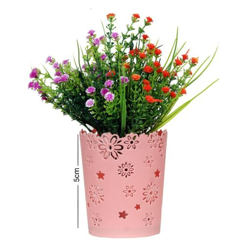 Small Plastic Vase With Grass Artificial Flowers