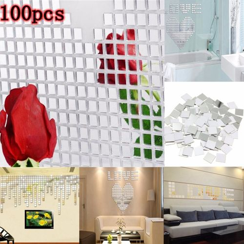 100 Pcs Acrylic Art 3D Wall Mirror Stickers Removable