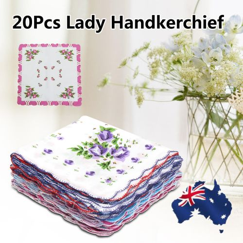 20Pcs/set Ladies Women Vintage Cotton Quadrate Hankies Floral Handkerchief Decor