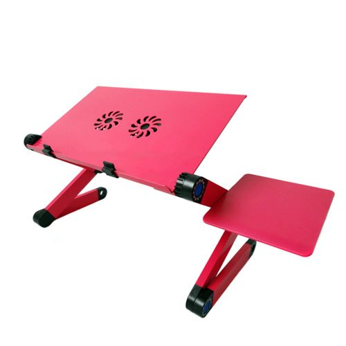 Aluminium Alloy Laptop Desk Folding Portable Table Notebook Rose Red
