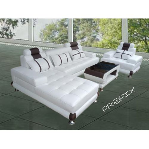 Classic L-shape Sofa Chair With Centre Table - Leather Couch