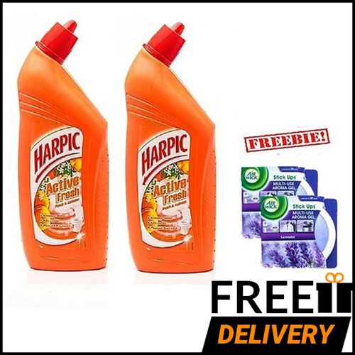 Toilet Cleaner: Peach And Jasmine - 725ml With FREE Airwick Stickup - Pack Of 2