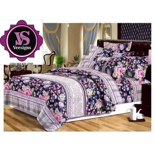 Floral Patterned Bed-sheet With Pillow Cases