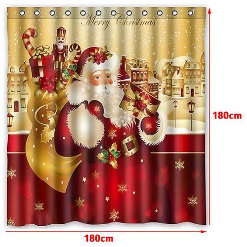 71'' Merry Christmas Santa Claus Shower Curtain +Hooks