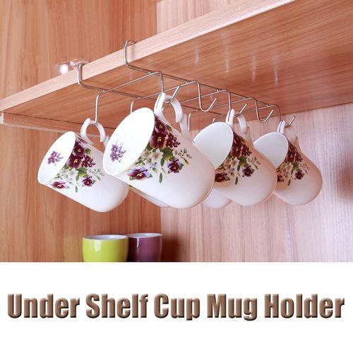 2PCS Mug Holder Coffee Tea Cup Rack Storage Kitchen Under Shelf Cabinet Hanger Hooks