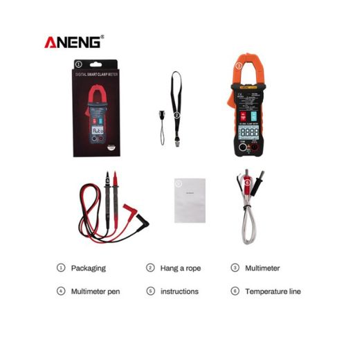 Digital Clamp Type Ammeter Intelligent Automatic Electrical Instrumentation Orange