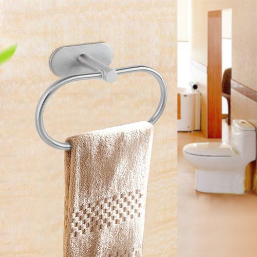 Stainless Steel Brushed Wall Mounted Towel Ring Rack Holder Hook Organizer