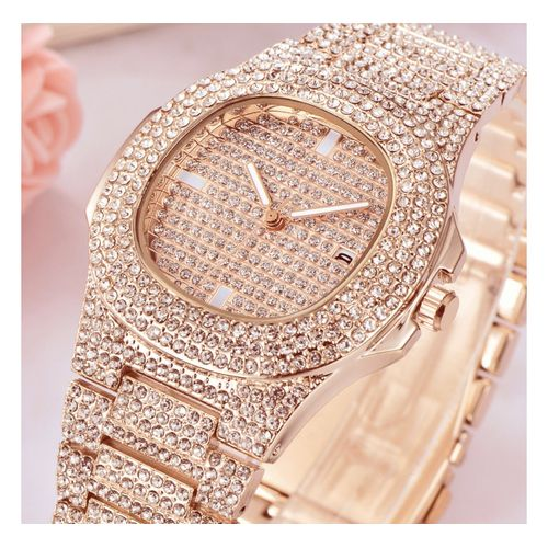 Royal Fully Studded Ice Wrist Watch-Rose Gold