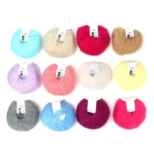 26g / Roll Angora Mohair Soft Wool Long Knitting Yarn With A Hook For Clothing Scarves Sweater Shawl Hats And Craft Projects