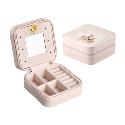 Portable Travel Jewelry Box Leather Storage Case-Naked Pink
