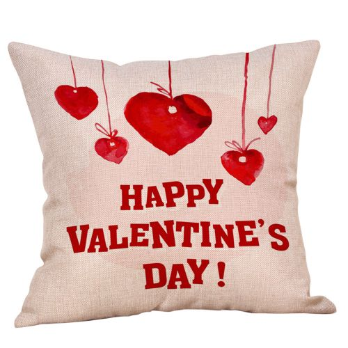 Herkiller Happy Valentine Pillow Cases Linen Sofa Cushion Cover Home Decor Pillow Case-As Shown