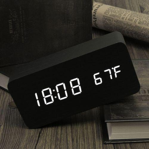Bamboo Wooden Digital White LED Alarm