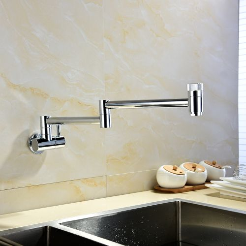 Brass Chrome Wall Mounted 360 Degree Rotating Folding Spout Double Switch Cold Tap Kitchen Faucet CT165
