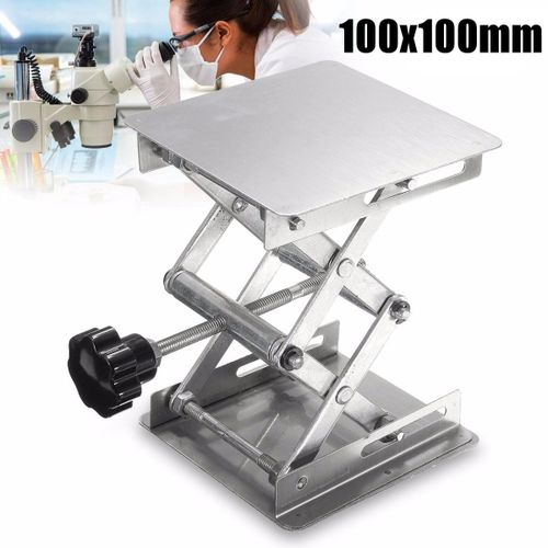 "4""x4"" Stainless Steel Lab Stand Lifting Platform Laboratory Tool Manual Control"