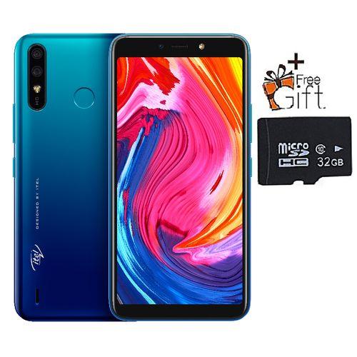 "A56 5.99"" Display, Android 9, 16GB ROM + 1GB RAM, 8MP+5MP Camera, 4000mAh, Fingerprint & Face ID - Blue + Free 32GB Card"