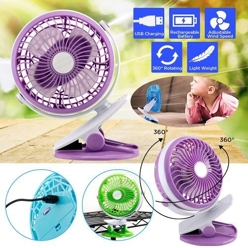 Portable Fan Rechargeable Battery USB Mini Rotation Clip.