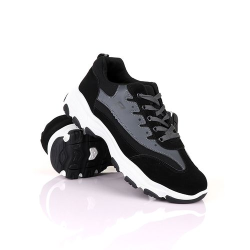 Casual Athletic Lace Up Sneakers In Black And Grey