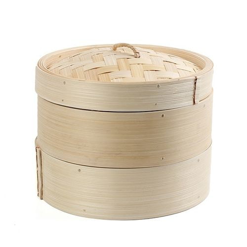 """2 Tier 8"""" Bamboo Steamer Chinese Dim Sum Basket Rice Pasta Cooker Set With Lid"""