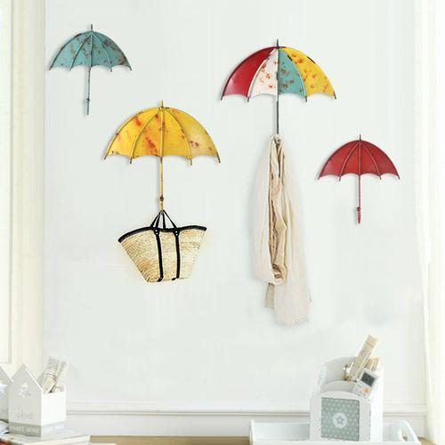 1PC Umbrella Shaped Creative Wall Strong Hook Key Hair Pin Holder Colorful Organizer Decor