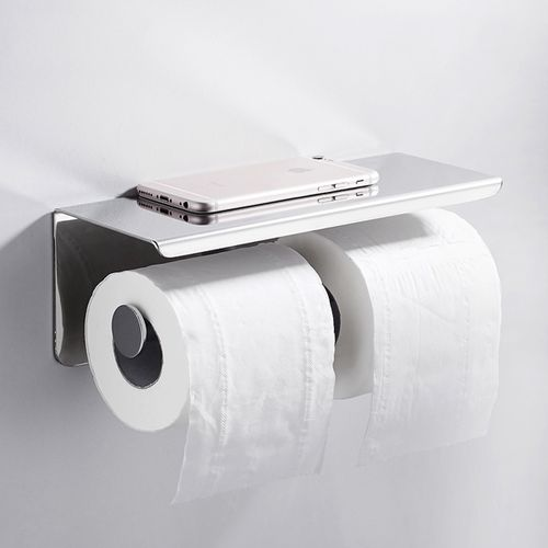 Toilet Dual Roll Paper Holder Tissue Storage Shelf Wall Stainless