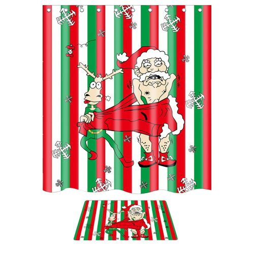 Christmas Waterproof Polyester Bathroom Shower Curtain And Xmas Mat Decor