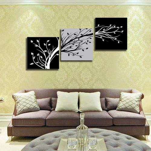 MT Tree Painting Wall Art Paints Modern Decorative Painting Unframed 12971-Black&white