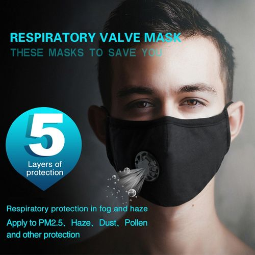 Face Mask Mouth Mask Anti Haze Dust Pollution Respirator Reusable Mouth Mask With Breathing Valve