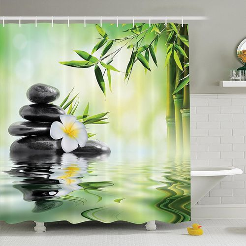 Bathroom Shower Curtain Toilet Cover Mat Non-Slip Rug Set