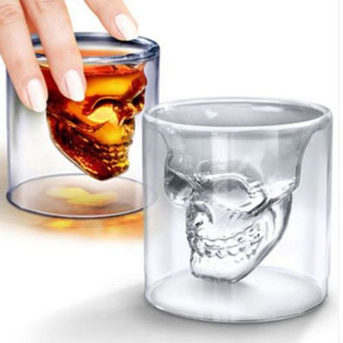 Magic Cool Clear Skull Head Shot Glass Creative Party Wine Cup Halloween Gift-Transparent