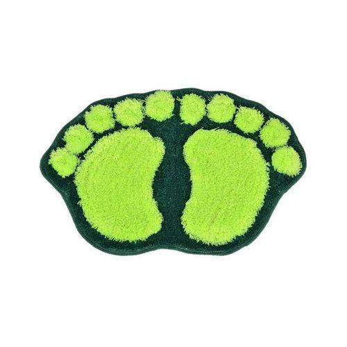 Footprint Shape Fluffy Bath Footmat - Green