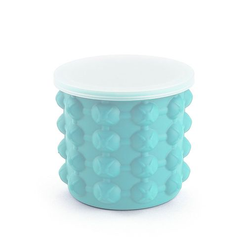 Ice Bucket Round With Cover Silicone Iced Small Blue