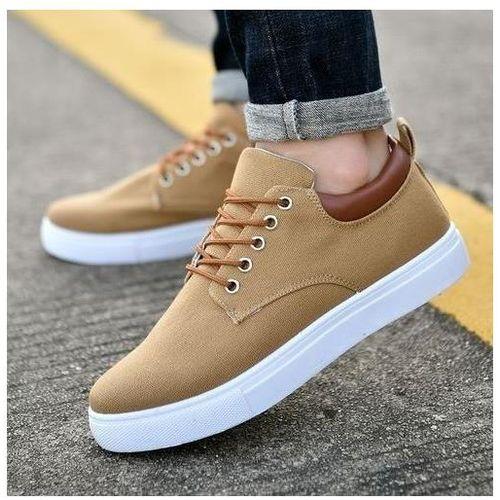 Solid Color Men's Breathable Lace-up Canvas Sneakers - Khaki
