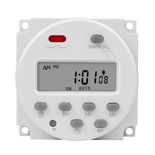 Plastic 7 Days Programmable Timer Switch Accurate To Second Timing White