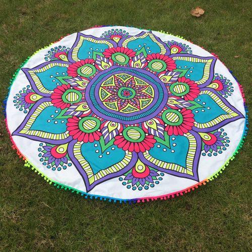 Round Tassel Hippie Tapestry Beach Picnic Throw Yoga Mat Towel Blanket