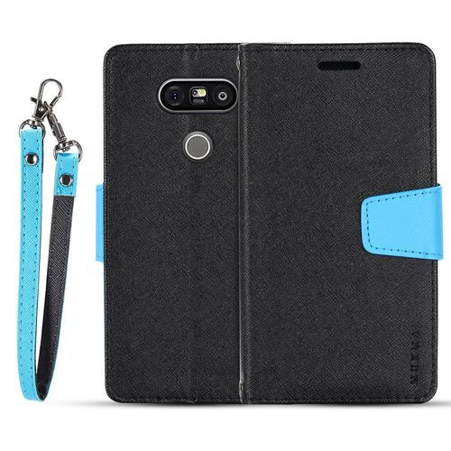 For LG G5 Flip Case MUXMA Flip Card Phone Case Two-color Anti-fall Leather Case-Black