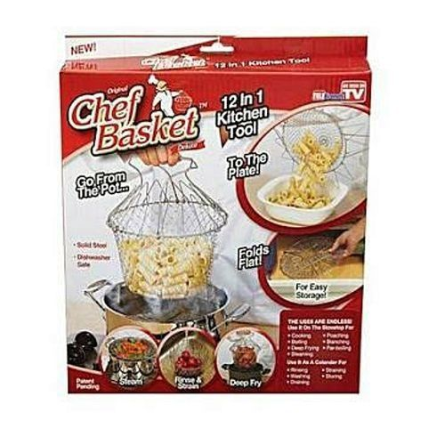 Foldable Steam Rinse Strain Fry Chef Basket Strainer Net-